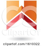 Clipart Of A Thick Striped Red And Orange Letter W Royalty Free Vector Illustration