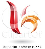 Clipart Of A Red And Orange Letter B Or K Royalty Free Vector Illustration