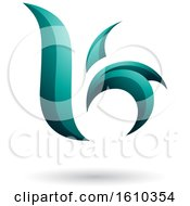Clipart Of A Persian Green Letter B Or K Royalty Free Vector Illustration