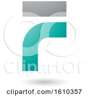 Clipart Of A Persian Green And Gray Letter F Royalty Free Vector Illustration