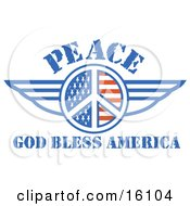American Peace Symbol With Stars And Stripes And Wings With Text Reading God Bless America
