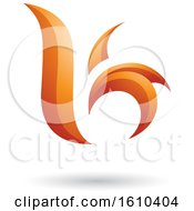 Clipart Of An Orange Letter B Or K Royalty Free Vector Illustration