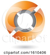 Clipart Of An Orange And Gray Futuristic Sphere Royalty Free Vector Illustration