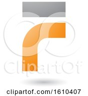 Clipart Of An Orange And Gray Letter F Royalty Free Vector Illustration