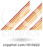 Retro Abstract Diagonal Stripes Orange Letter M