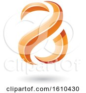 Orange Glossy Snake Shaped Letter A Design