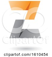 Gray And Orange Folded Paper Styled Letter Z