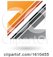 Striped Gray And Orange Letter Z