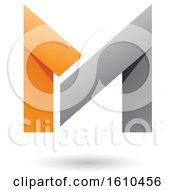 Folded Paper Gray And Orange Letter M