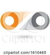 Clipart Of A Gray And Orange Abstract Double Letter O Or Binoculars Design Royalty Free Vector Illustration