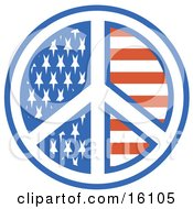American Peace Symbol With Stars And Stripes Clipart Illustration