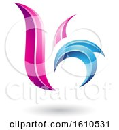 Clipart Of A Magenta And Blue Letter B Or K Royalty Free Vector Illustration