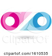 Clipart Of A Blue And Magenta Abstract Double Letter O Or Binoculars Design Royalty Free Vector Illustration