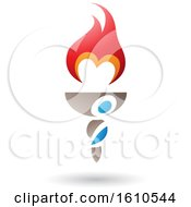 Poster, Art Print Of Flaming Torch With Letter M Shaped Fire