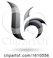 Clipart Of A Gray Letter B Or K Royalty Free Vector Illustration