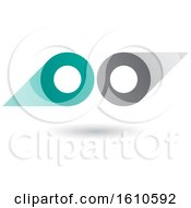 Clipart Of A Turquoise And Gray Abstract Double Letter O Or Binoculars Design Royalty Free Vector Illustration