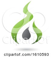 Poster, Art Print Of Fire Shaped Green And Gray Letter A