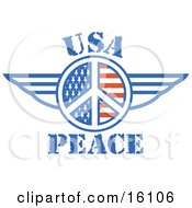 American Peace Symbol With Stars And Stripes And Wings
