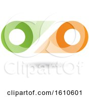 Clipart Of A Green And Orange Abstract Double Letter O Or Binoculars Design Royalty Free Vector Illustration