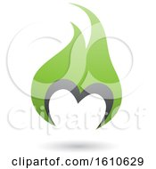 Poster, Art Print Of Fire Shaped Green And Gray Letter M