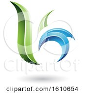 Clipart Of A Green And Blue Letter B Or K Royalty Free Vector Illustration