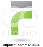 Clipart Of A Green And Gray Letter F Royalty Free Vector Illustration