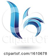 Clipart Of A Blue Letter B Or K Royalty Free Vector Illustration