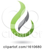Clipart Of A Fire Shaped Green And Gray Letter E Royalty Free Vector Illustration