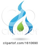 Poster, Art Print Of Fire Shaped Blue And Green Letter A