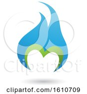 Poster, Art Print Of Flame Shaped Green And Blue Letter M