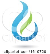 Poster, Art Print Of Fire Shaped Blue And Green Letter E