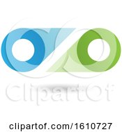 Clipart Of A Blue And Green Abstract Double Letter O Or Binoculars Design Royalty Free Vector Illustration