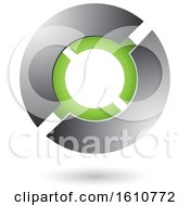 Clipart Of A Green And Gray Futuristic Sphere Royalty Free Vector Illustration