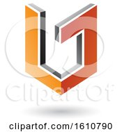 3d Orange And Gray Shield