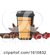 Clipart Of A Take Out Coffee Cup With Berries And Spices Royalty Free Vector Illustration