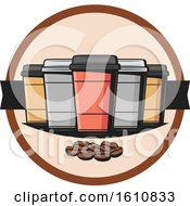 Clipart Of Take Out Coffee Cups And Beans Royalty Free Vector Illustration