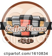 Clipart Of Take Out Coffee Cups And Beans And Text Royalty Free Vector Illustration