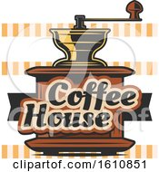 Clipart Of A Vintage Coffee Grinder And Text Royalty Free Vector Illustration