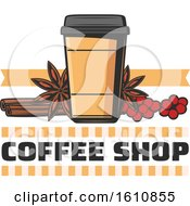 Clipart Of A Take Out Coffee Cup With Berries And Spices Over Text Royalty Free Vector Illustration