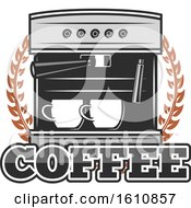 Clipart Of An Espresso Machine With Text Royalty Free Vector Illustration