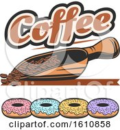 Coffee Design With A Scoop Of Beans Over Donuts