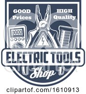 Clipart Of A Blue And White Electric Tool Shield Royalty Free Vector Illustration