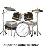 Clipart Of A Drum Set Royalty Free Vector Illustration