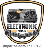 Clipart Of A Shield With Electronic Music Items Royalty Free Vector Illustration
