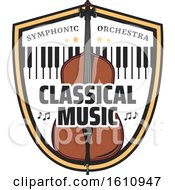 Clipart Of A Bass Or Cello And Keyboard In A Shield Royalty Free Vector Illustration