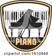 Clipart Of A Piano And Keyboard In A Shield Royalty Free Vector Illustration