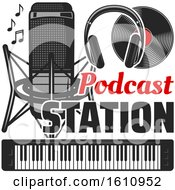Clipart Of A Podcast Station Design Royalty Free Vector Illustration