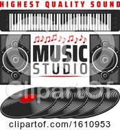 Clipart Of A Music Studio Design Royalty Free Vector Illustration