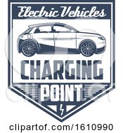 Clipart Of A Blue And White Electric Car Shield Royalty Free Vector Illustration