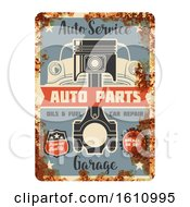 Clipart Of A Vintage Rusted Style Automotive Sign Royalty Free Vector Illustration